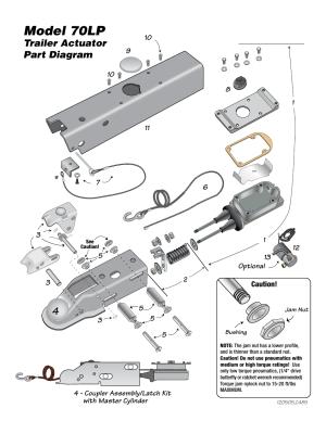 Model 70lp, Model 70lp actuator parts list, Trailer