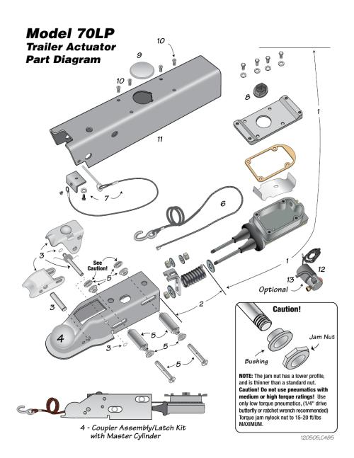 small resolution of model 70lp model 70lp actuator parts list trailer actuator part diagram tie down 70lp user manual page 4 8