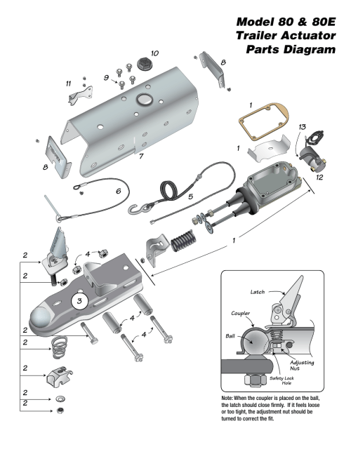 small resolution of model 80 80e trailer actuator parts diagram tie down 80e actuator user manual page 4 8