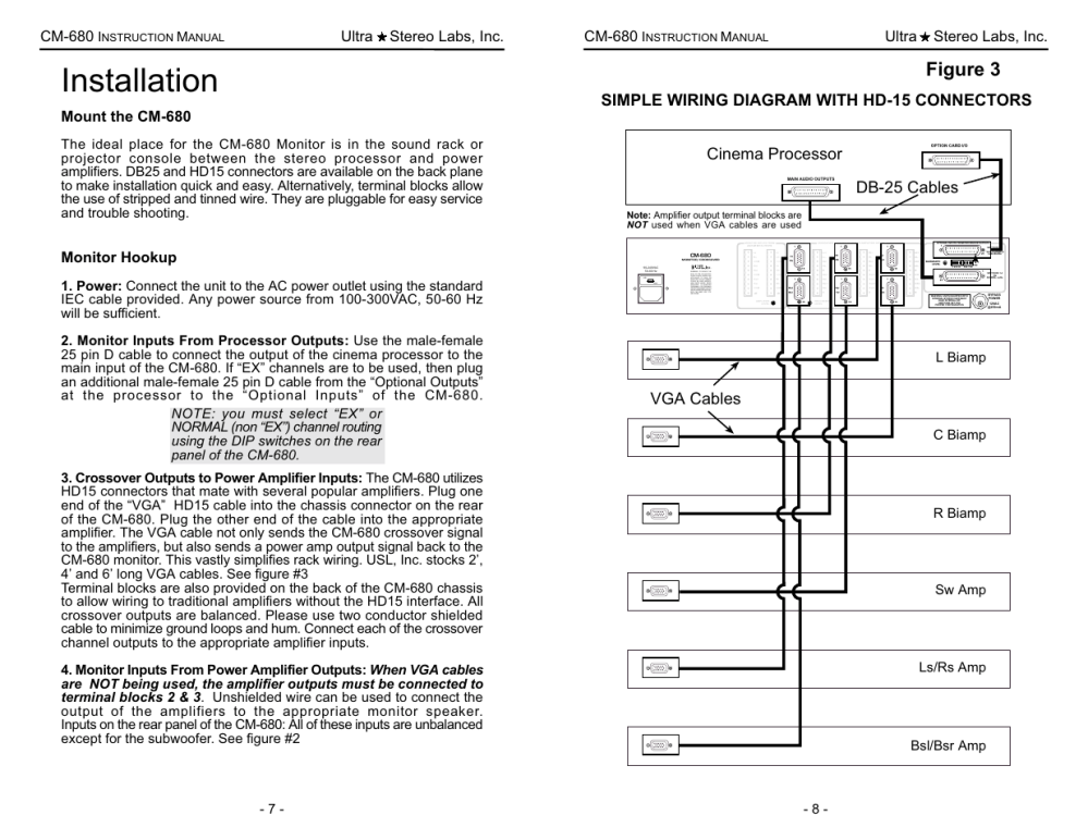medium resolution of installation figure 3 simple wiring diagram with hd 15 connectors usl cm 680 user manual page 8 16