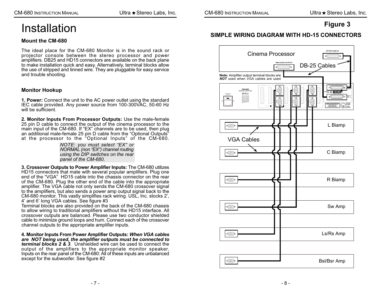 hight resolution of installation figure 3 simple wiring diagram with hd 15 connectors usl cm 680 user manual page 8 16