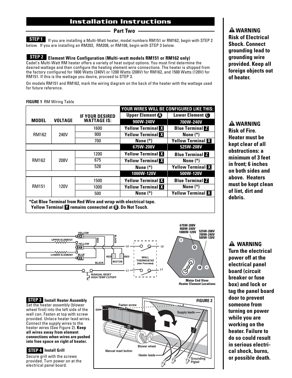 medium resolution of installation instructions cadet the register plus rm108 user manual page 3 8