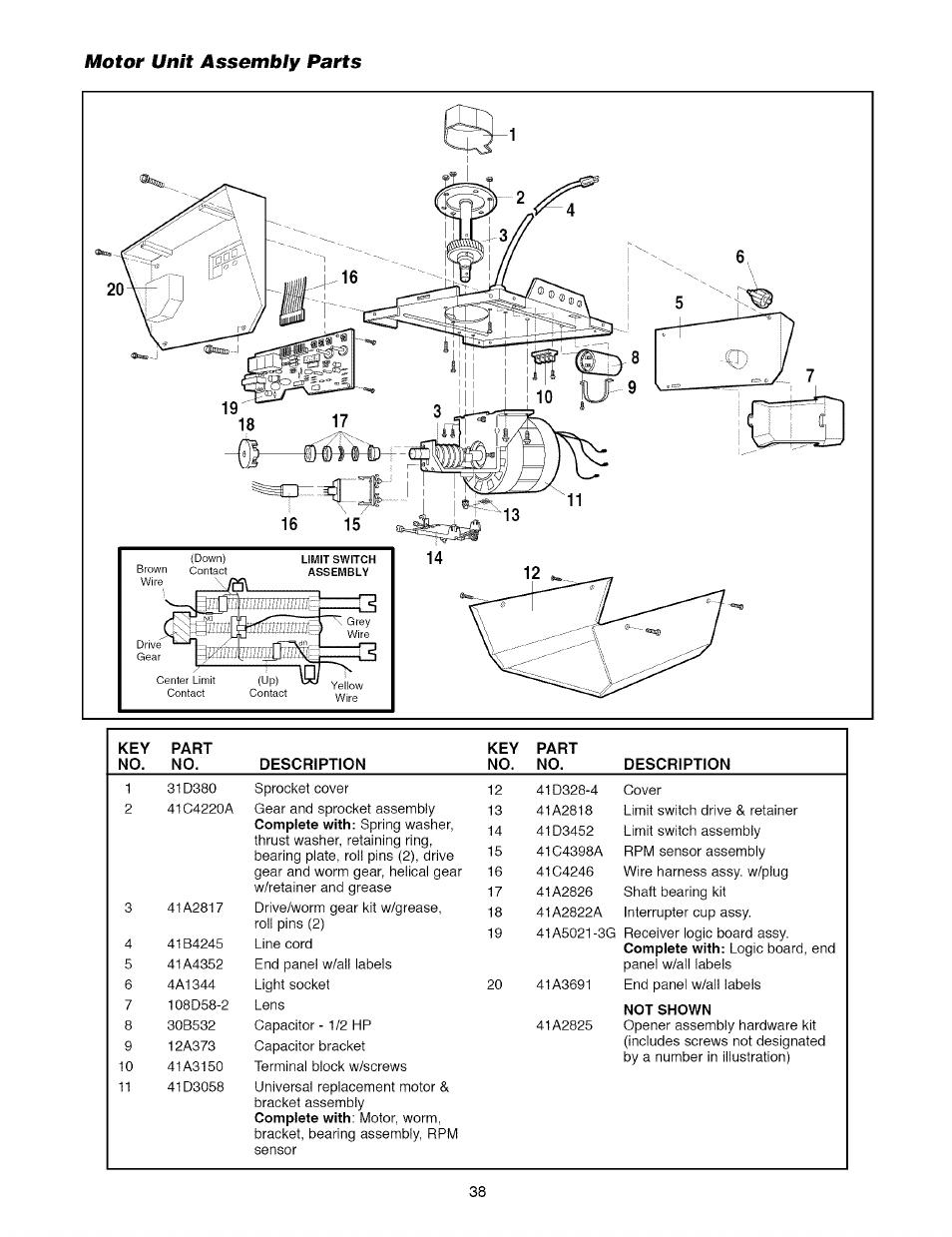 Motor unît assembly parts, Motor unit assembly parts