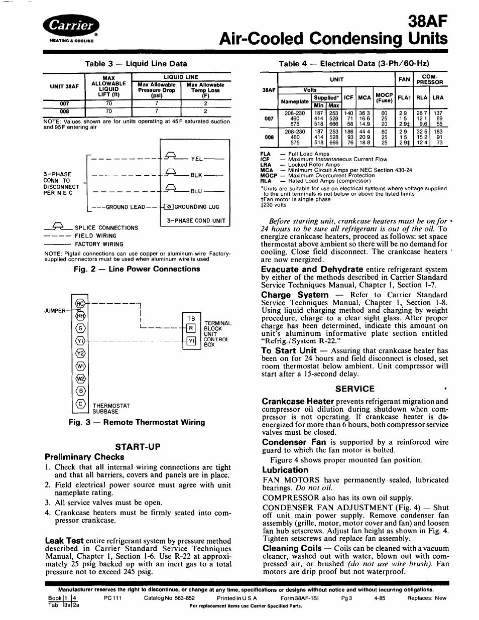38af air-cooled condensing units, Table 3 — liquid line