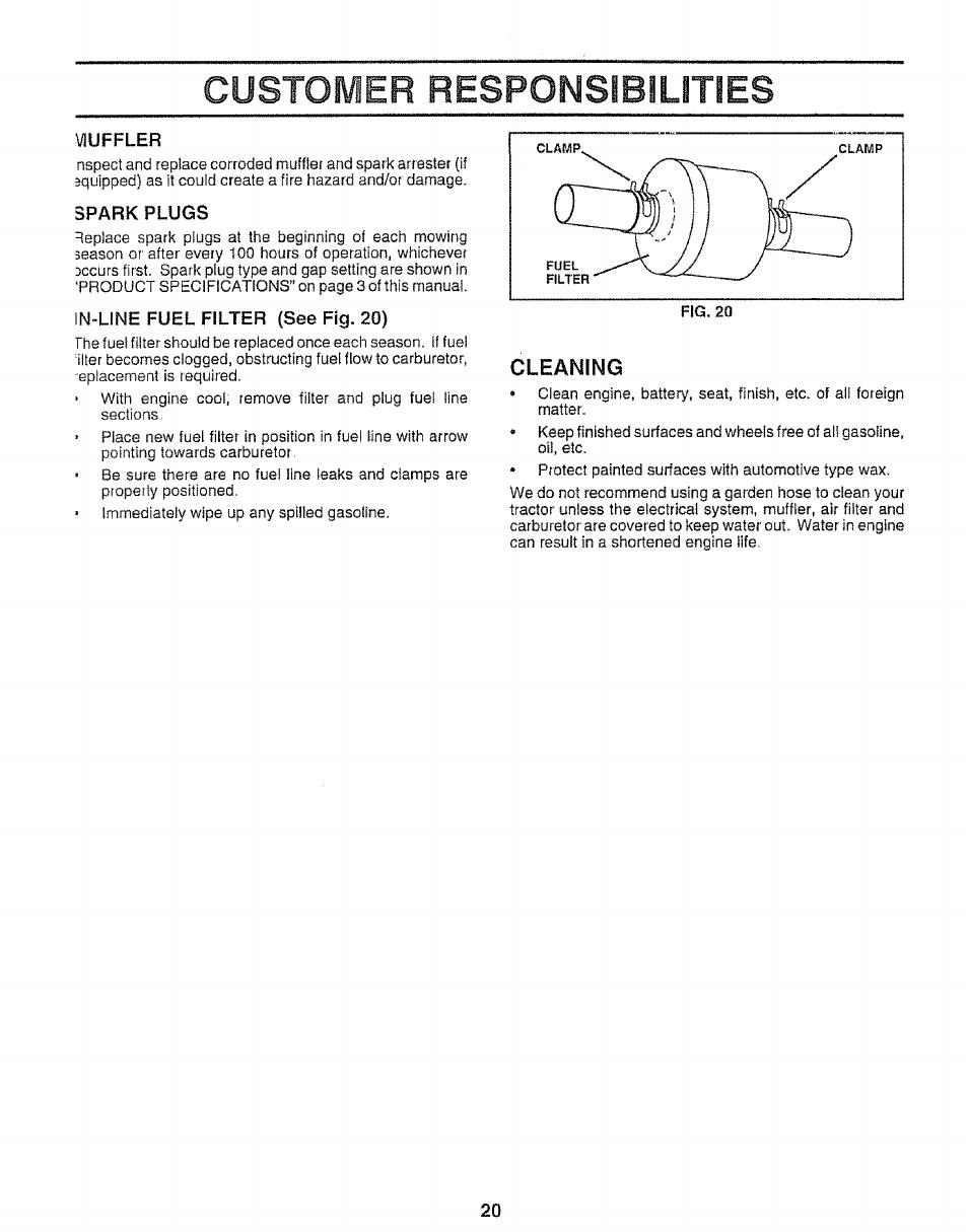 medium resolution of vluffler spark plugs in line fuel filter see fig 20 sears 917 25953 user manual page 20 30