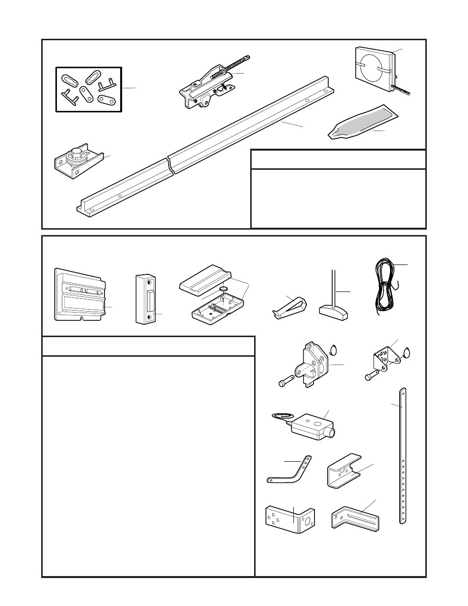 Repair parts, Rail assembly parts, Installation parts