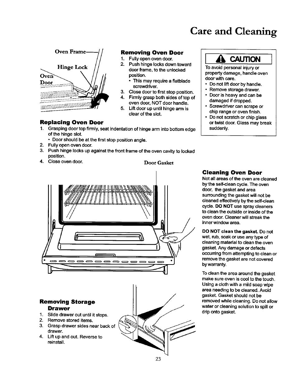 Removing oven door, Replacing oven door, Removing storage