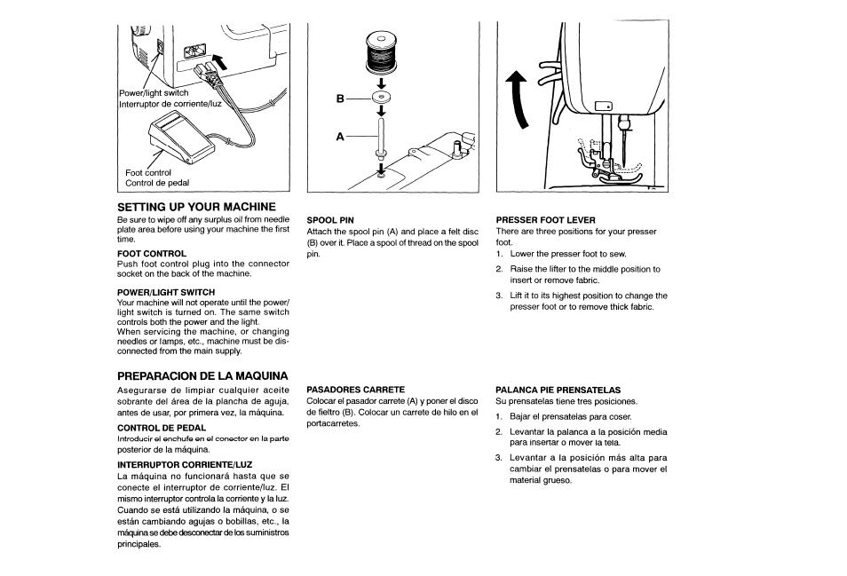 Setting up your machine, Preparacion de la maquina