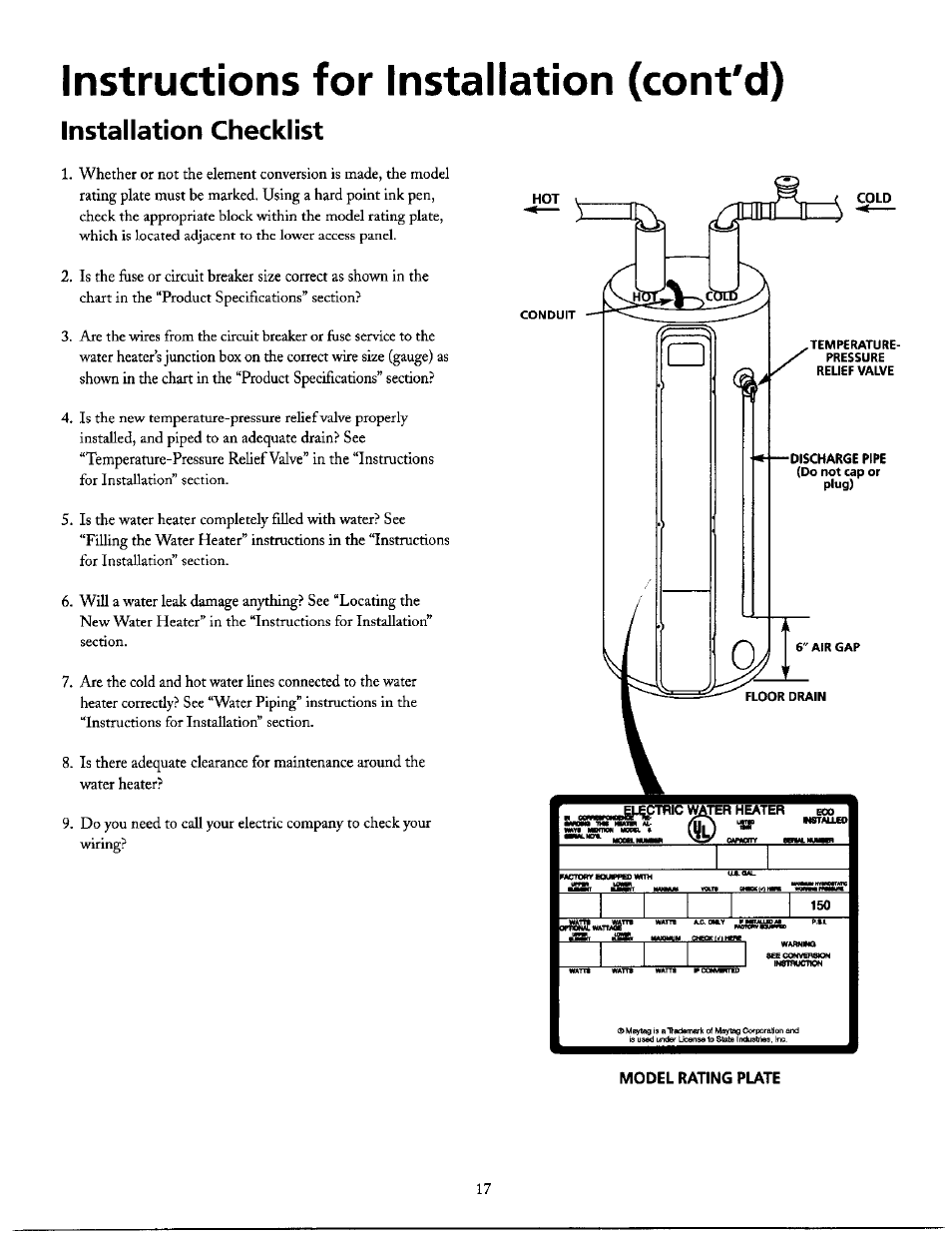 hight resolution of instructions for installation cont d installation checklist maytag he21250s user manual page 17 32