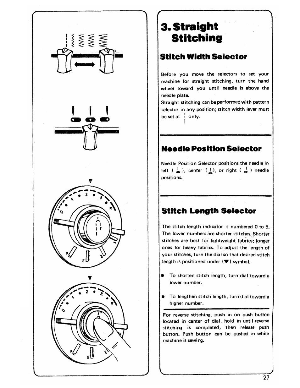 Straight stitching, Stitch width selector, Stitch length