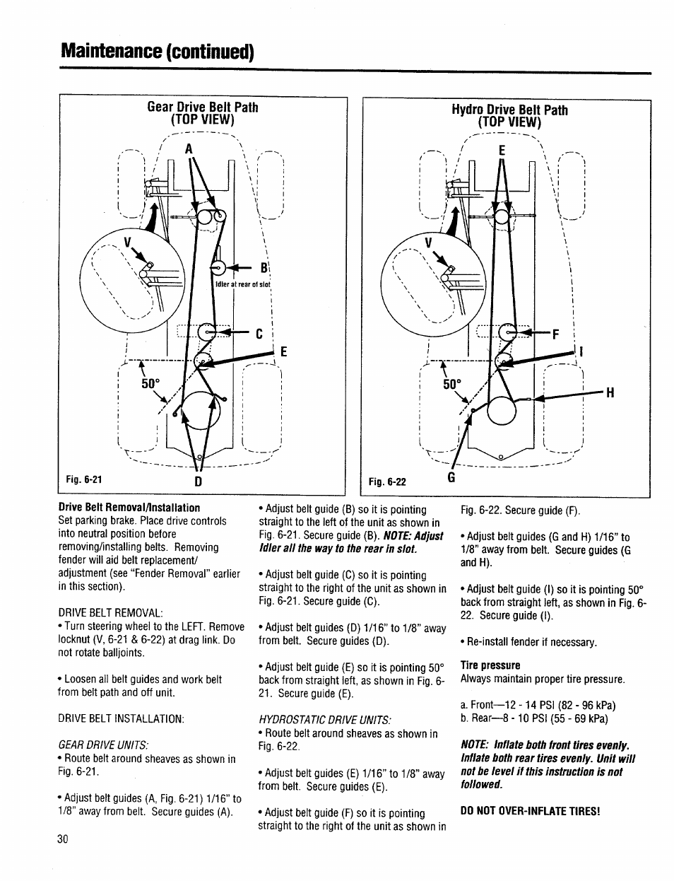 Gear drive belt path (top view), Hydro drive belt path