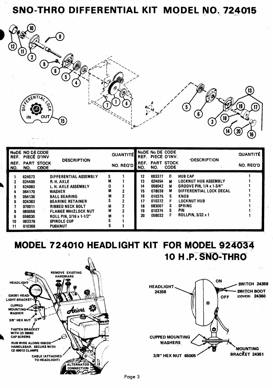 Sno-thro differential kit model no. 724015, Model 724010