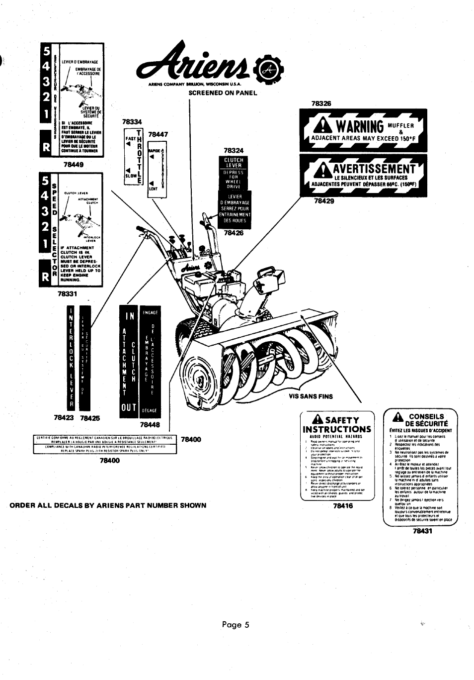 Page 5, Order all decals by ariens part number shown