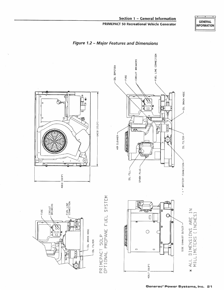 General, Figure 1.2, Major features and dimensions