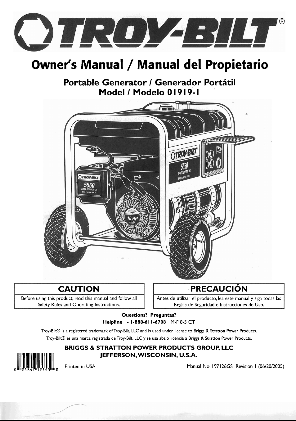 Briggs And Stratton 5500 Watt Generator Owners Manual