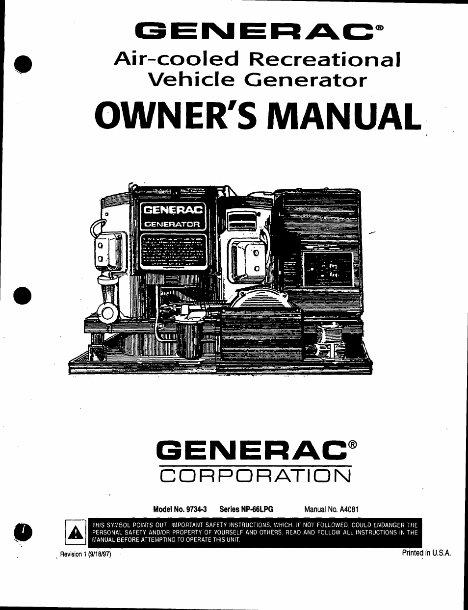 Generac Power Systems Air-cooled Recreational Vehicle