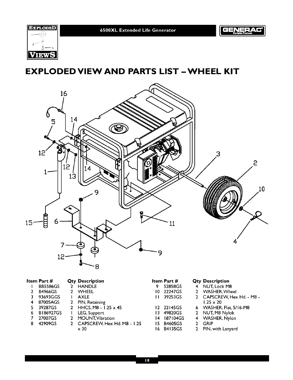 6500xl extended life generator, Exploded view and parts