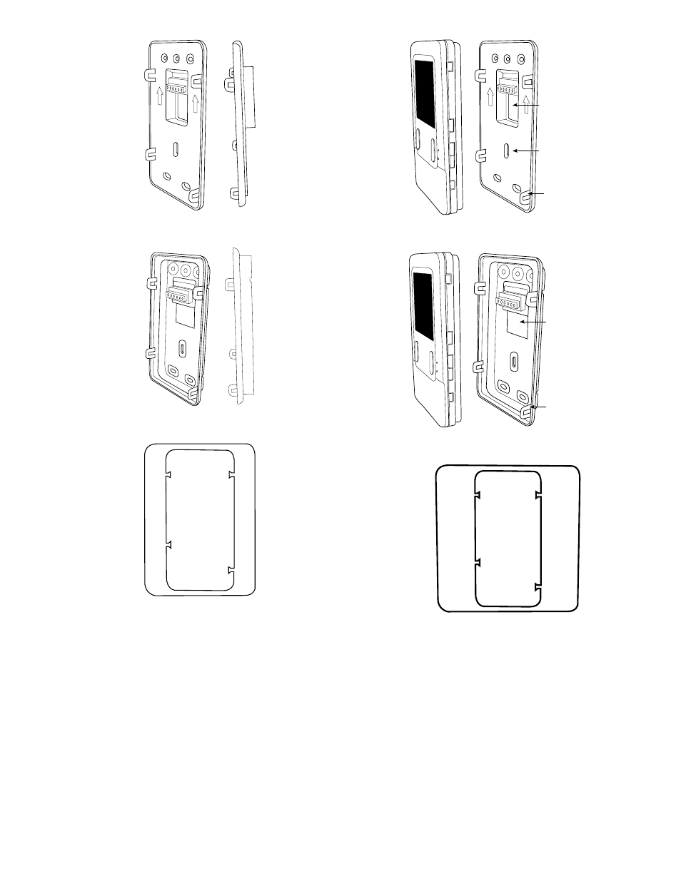 Fig. 3—recessed mount backplate, Fig. 4—surface mount