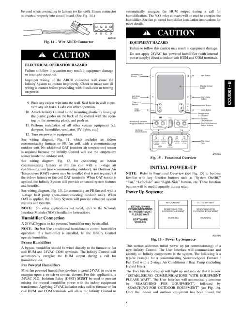 small resolution of caution initial power up humidifier connection carrier infinity systxccuid01 b user manual page 5 16