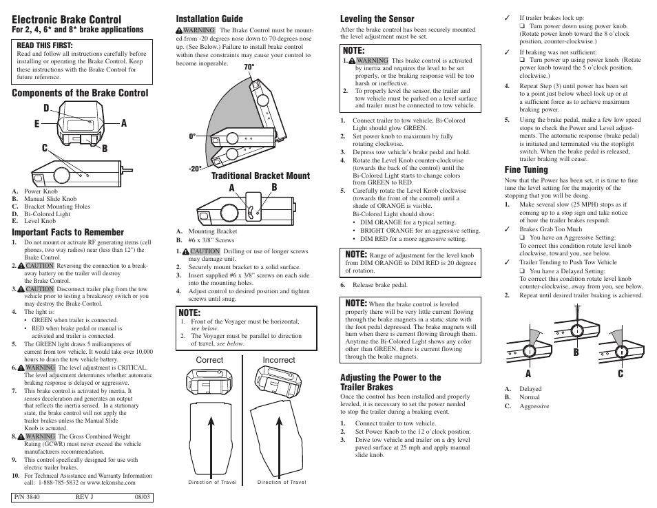 4 way trailer wiring diagram well piping tekonsha voyager user manual | 6 pages