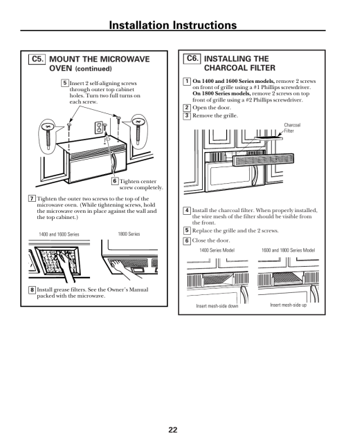 small resolution of installing the charcoal filter installation instructions ge spacemaker xl1800 user manual page 22