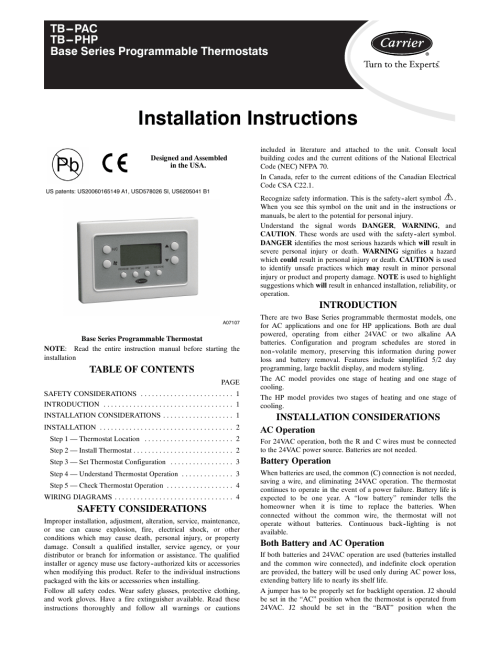 small resolution of carrier base series programmable thermostats tb pac user manual 8 pages also for