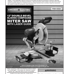 chicago electric power tools 12 double bevel sliding compound miter saw with laser guide 69684 user manual 20 pages [ 954 x 1324 Pixel ]