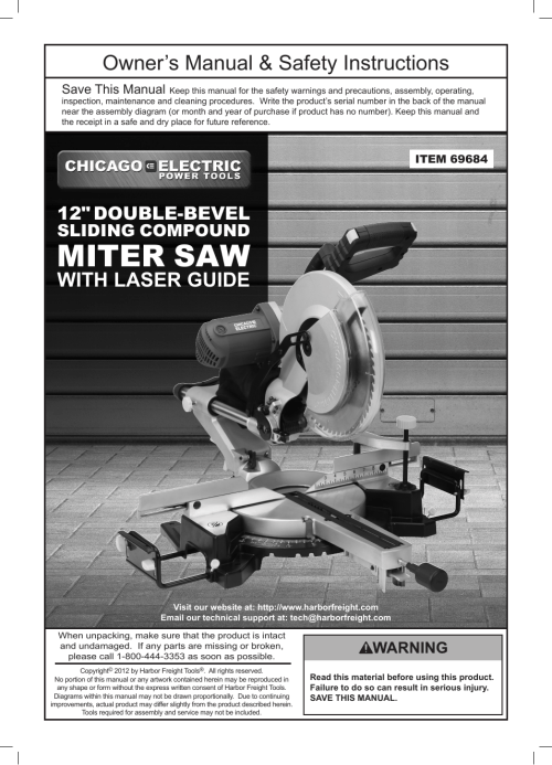 small resolution of chicago electric power tools 12 double bevel sliding compound miter saw with laser guide 69684 user manual 20 pages
