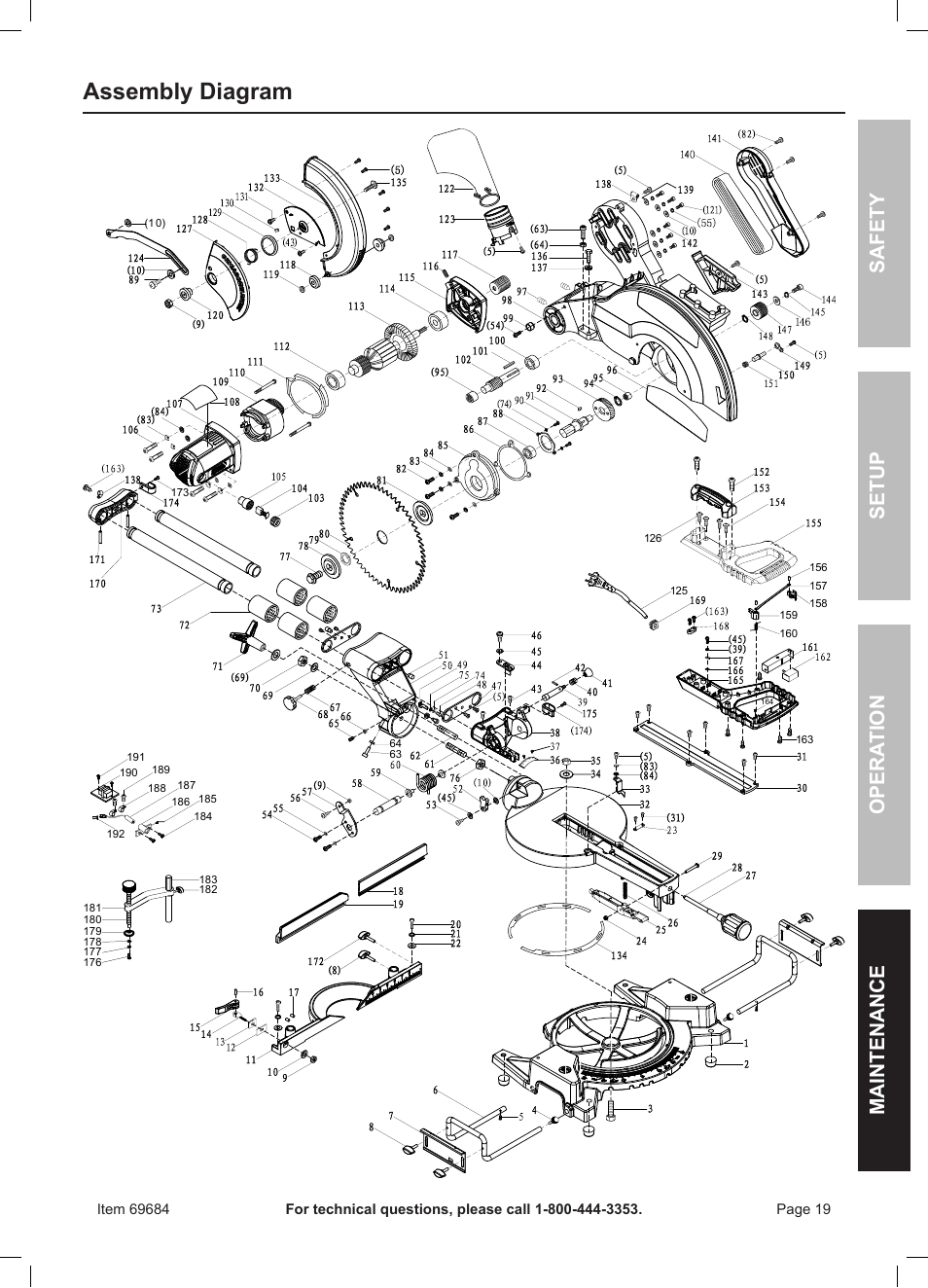 Assembly diagram, Safety opera tion maintenance setup