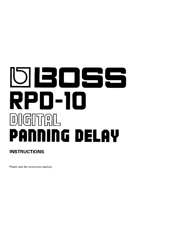 Boss Audio Systems Boss Digital Panning Delay RPD-10 User