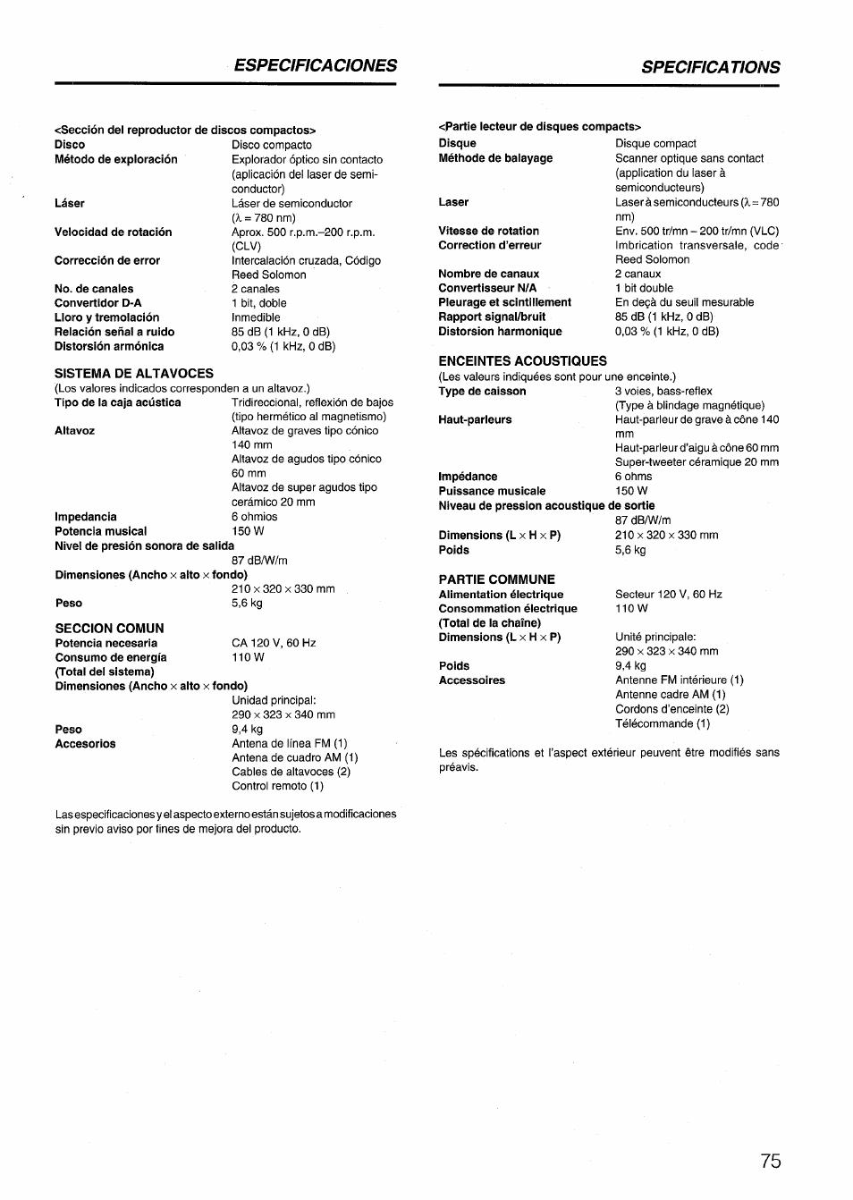 Sistema de altavoces, Seccion comun, Enceintes acoustiques