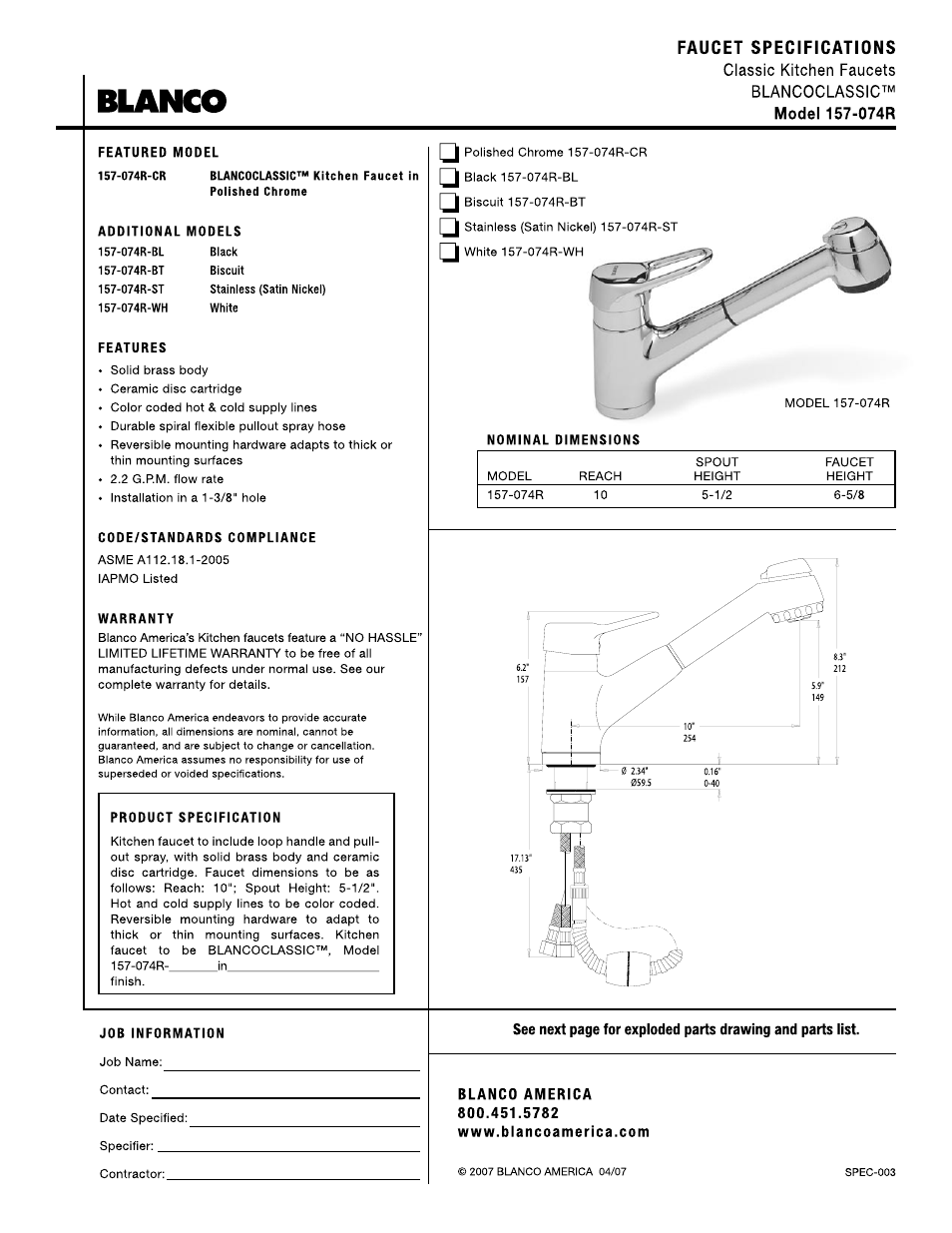 blanco 157 074r user manual 2 pages