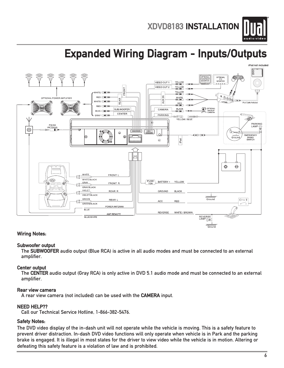 medium resolution of expanded wiring diagram inputs outputs xdvd8183 installationexpanded wiring diagram inputs outputs xdvd8183 installation dual