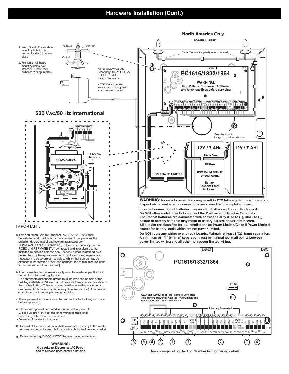 medium resolution of 12v 7 ahr 12v 7 ahr north america only dsc powerseries pc1616 hardware installation
