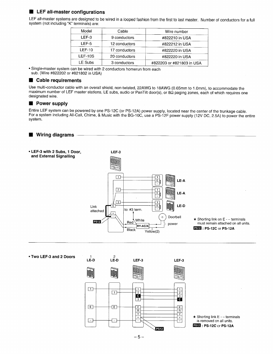 aiphone lef 3 wiring diagram switched spur cable requirements power supply diagrams user manual page 5 12