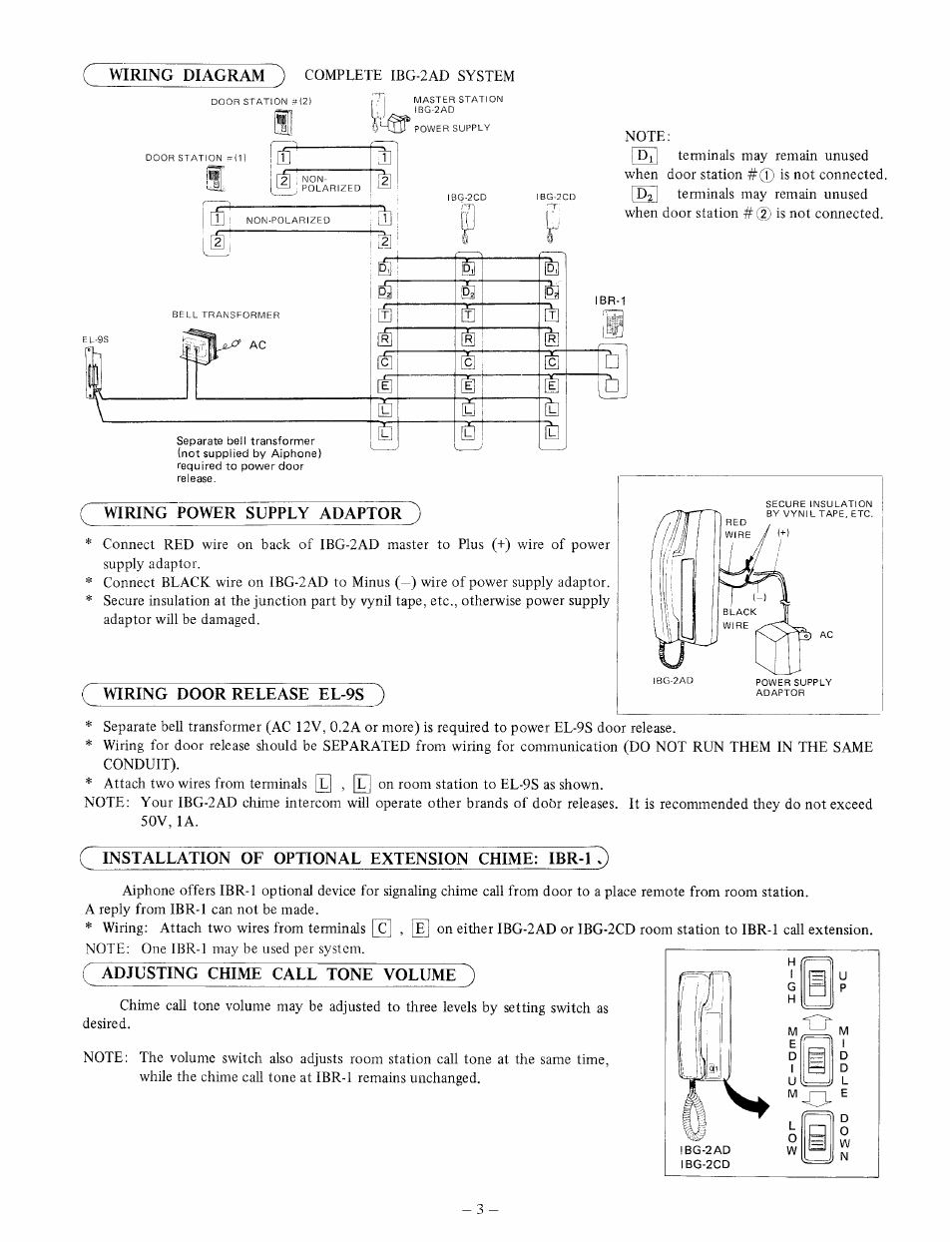 hight resolution of wiring power supply adaptor wiring door release el 9s installation of optional extension chime ibrtq aiphone ibg 2ad user manual page 3 4