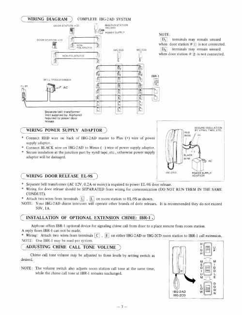 small resolution of wiring power supply adaptor wiring door release el 9s installation of optional extension chime ibrtq aiphone ibg 2ad user manual page 3 4