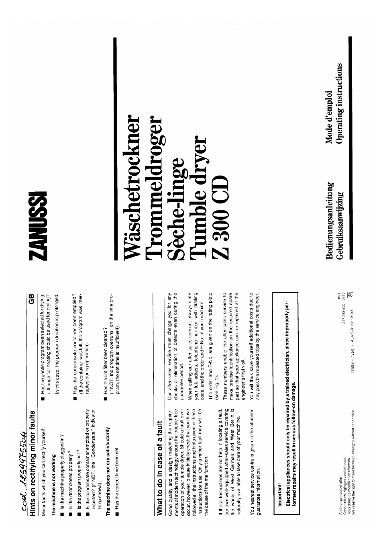 Bedienungsanleitung Zanussi