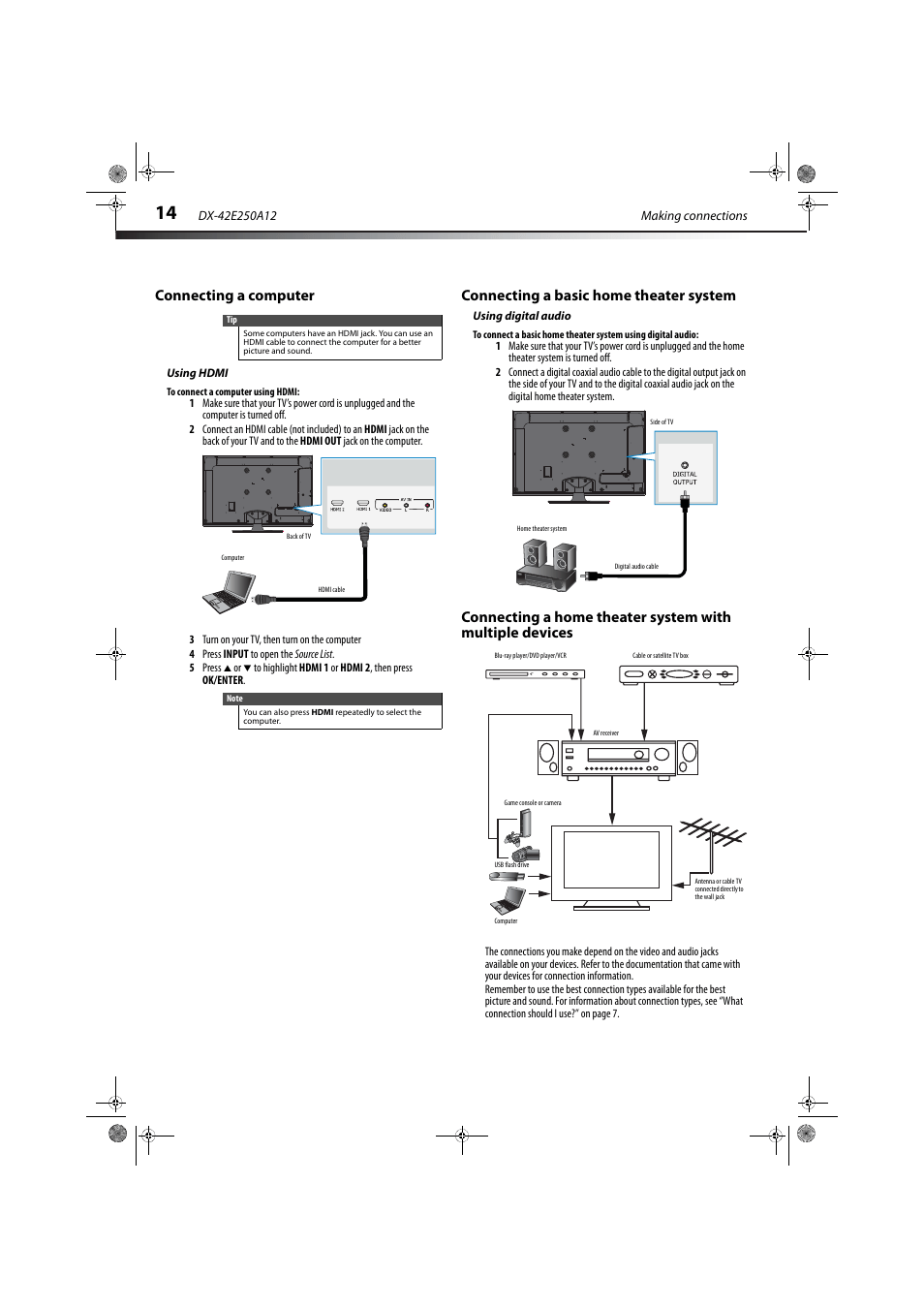 medium resolution of connecting a computer using hdmi connecting a basic home theater system using digital
