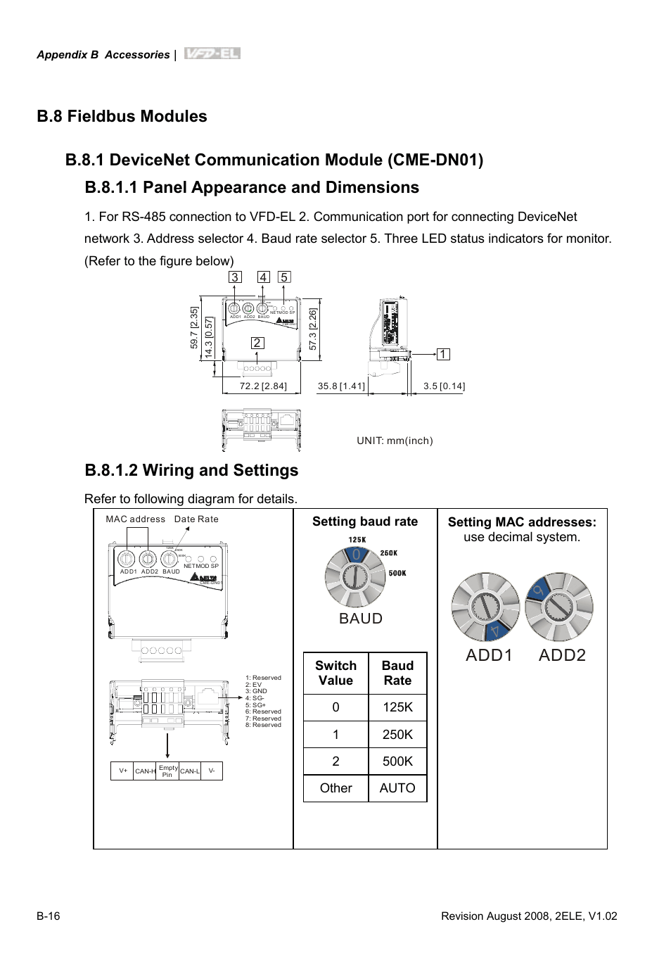 medium resolution of b 8 fieldbus modules b 8 1 devicenet communication module cme dn01 delta vfd el wiring diagram