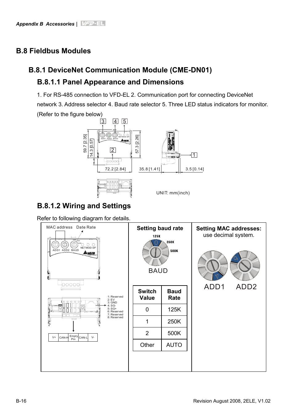 hight resolution of b 8 fieldbus modules b 8 1 devicenet communication module cme dn01 delta vfd el wiring diagram