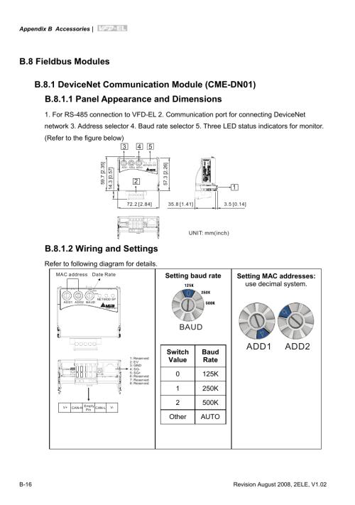 small resolution of b 8 fieldbus modules b 8 1 devicenet communication module cme dn01 delta vfd el wiring diagram