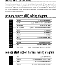 wiring the control unit primary harness h1 wiring diagram remote directed electronics remote start wiring diagram [ 954 x 1235 Pixel ]