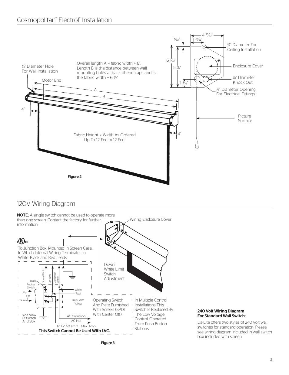 medium resolution of cosmopolitan electrol installation 120v wiring diagram da lite cosmopolitan electrol user manual page 3 8