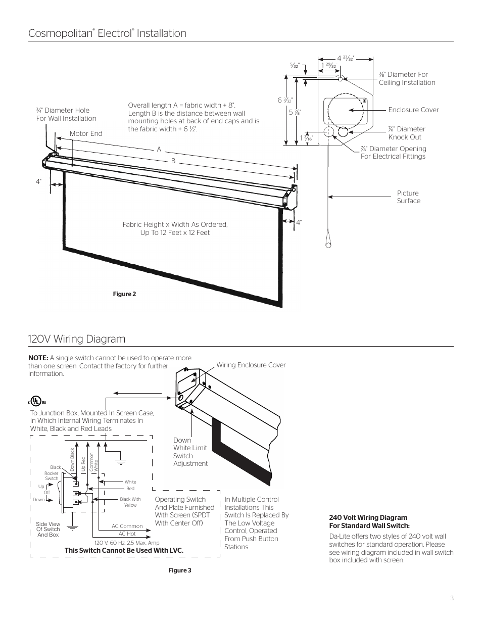 hight resolution of cosmopolitan electrol installation 120v wiring diagram da lite cosmopolitan electrol user manual page 3 8
