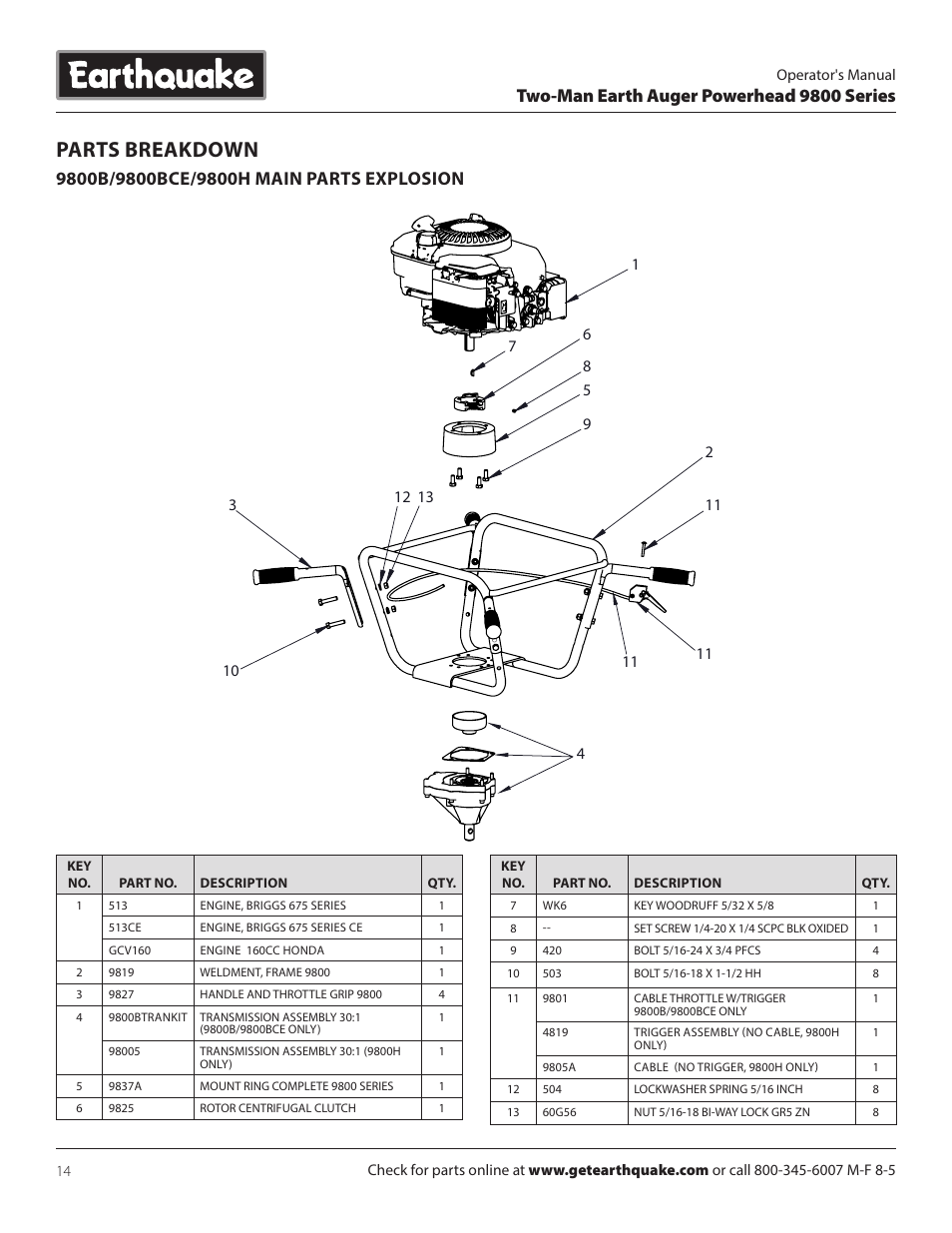 Parts breakdown, Two-man earth auger powerhead 9800 series