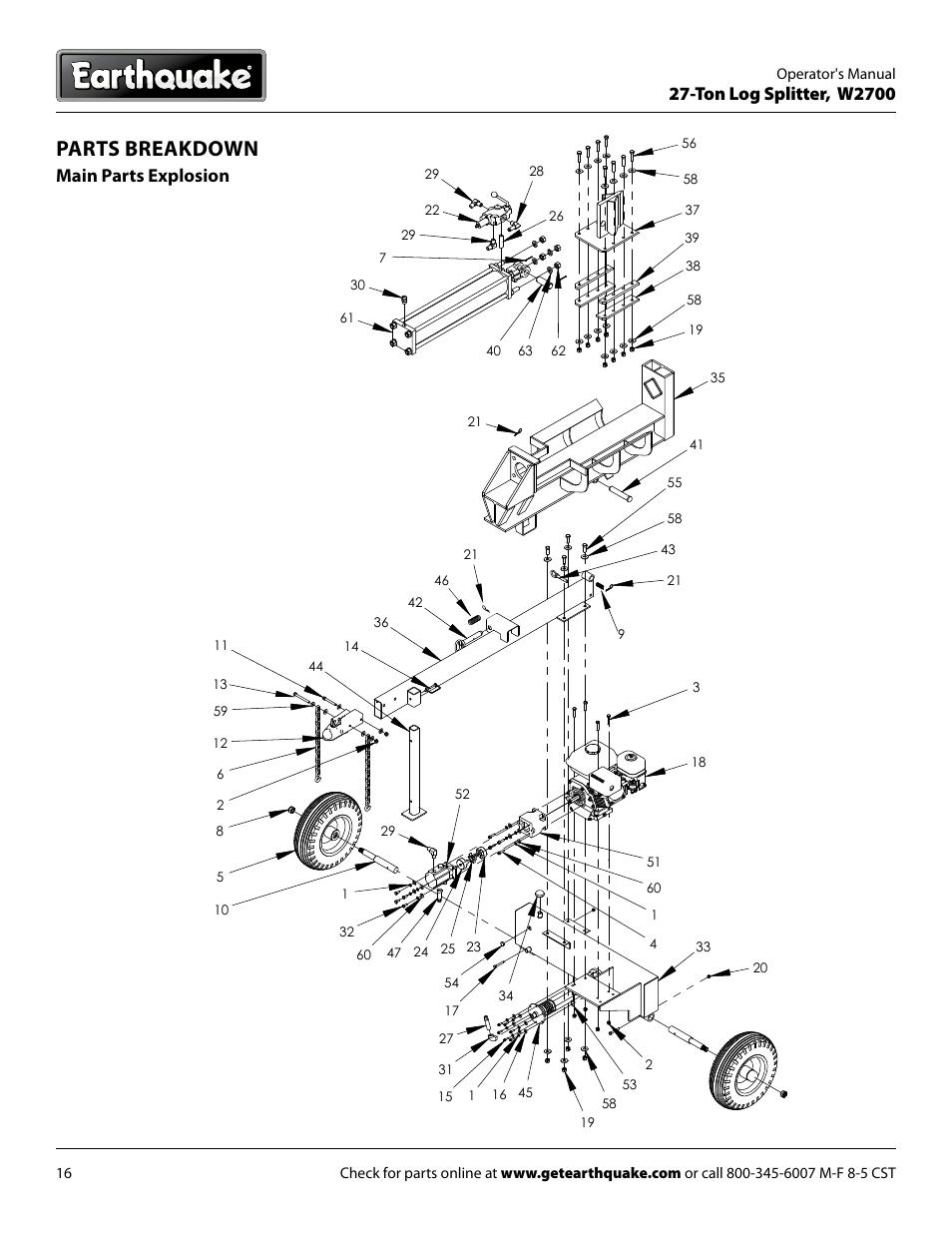 Parts breakdown, Ton log splitter, w2700, Main parts
