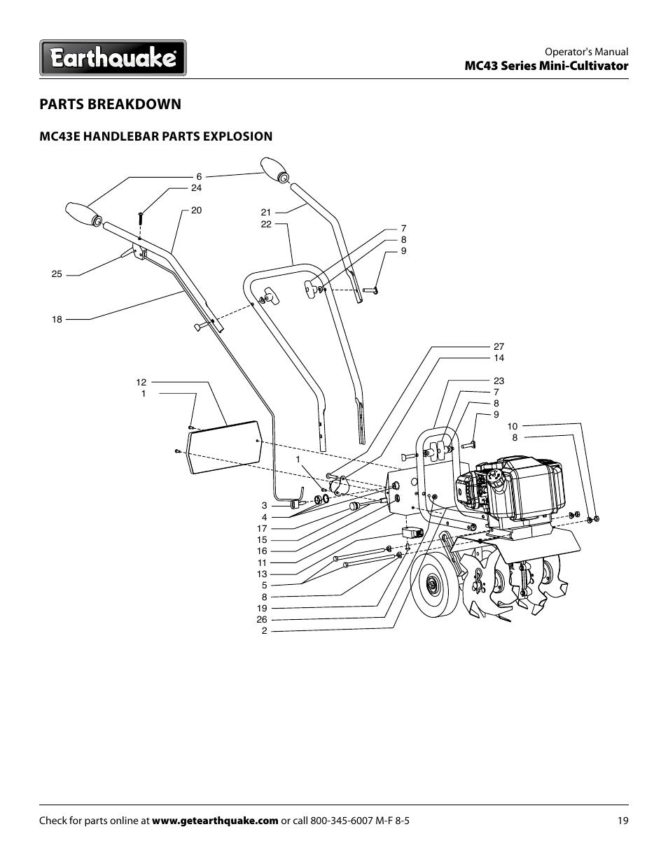 Parts breakdown, Mc43 series mini-cultivator, Mc43e