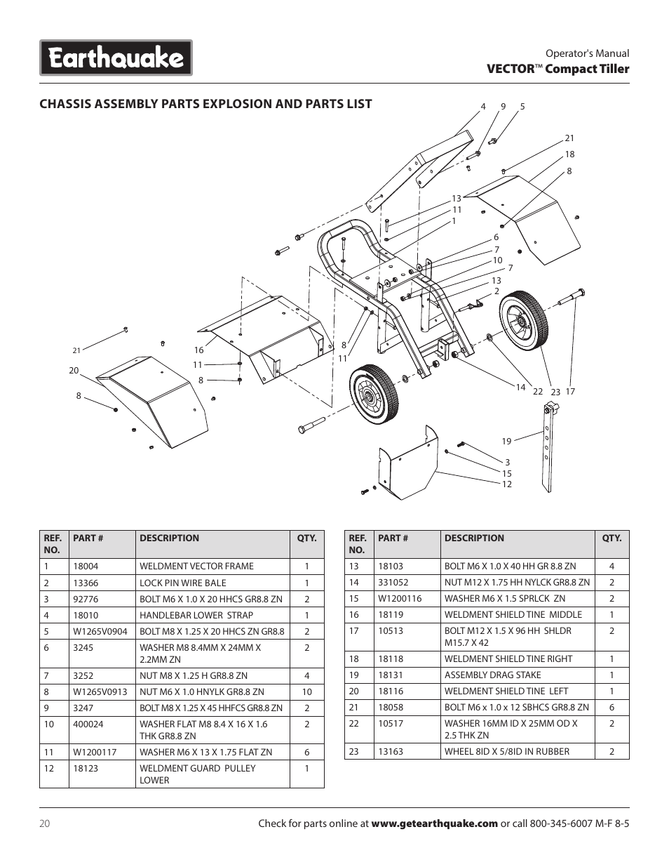 Vector ™ compact tiller, Chassis assembly parts explosion