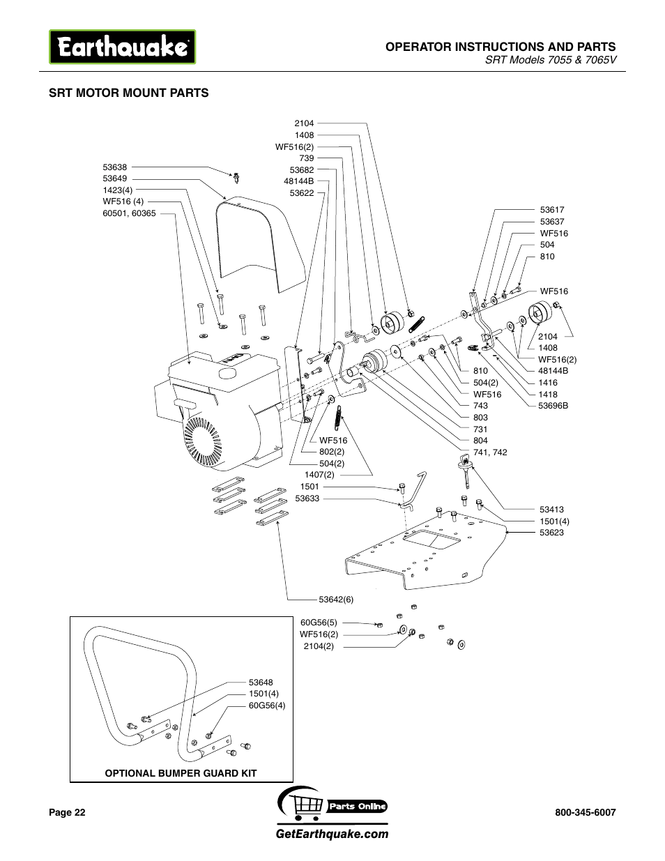 Operator instructions and parts, Srt motor mount parts